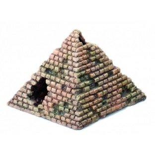 Petit décor en forme de pyramide, idéal comme cachette pour les poissons